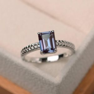 Shop Alexandrite Rings! Alexandrite Ring, Wedding Ring, Emerald Cut Color Changing Gemstone, June Birthstone, Sterling Silver Ring | Natural genuine Alexandrite rings, simple unique alternative gemstone engagement rings. #rings #jewelry #bridal #wedding #jewelryaccessories #engagementrings #weddingideas #affiliate #ad