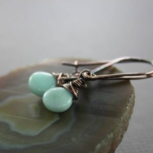Shop Amazonite Earrings! Kidney Shape Amazonite Sea Foam Copper Earrings – Copper Earrings – Gemstone Earrings – Drop Earrings – Dangle Earrings – Er106 | Natural genuine Amazonite earrings. Buy crystal jewelry, handmade handcrafted artisan jewelry for women.  Unique handmade gift ideas. #jewelry #beadedearrings #beadedjewelry #gift #shopping #handmadejewelry #fashion #style #product #earrings #affiliate #ad