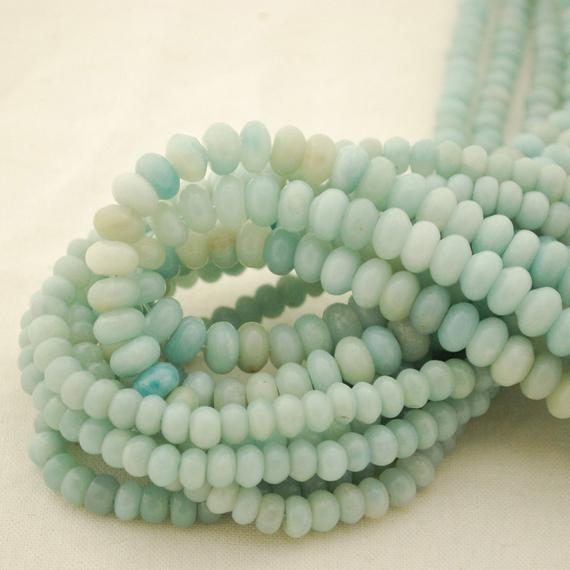 "High Quality Grade A Natural Amazonite Semi-precious Gemstone Rondelle Spacer Beads - 6mm, 8mm Sizes - 15.5"" Strand"