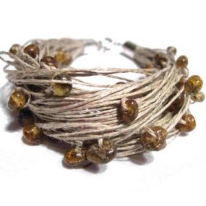 Shop Amber Jewelry! Raw Amber Linen Bracelet, Natural Baltic Amber, Organic, Multi Strand | Natural genuine Amber jewelry. Buy crystal jewelry, handmade handcrafted artisan jewelry for women.  Unique handmade gift ideas. #jewelry #beadedjewelry #beadedjewelry #gift #shopping #handmadejewelry #fashion #style #product #jewelry #affiliate #ad