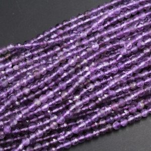 "Shop Amethyst Faceted Beads! 4mm Faceted Natural Amethyst Round Beads 5mm Amethyst Miro Faceted Genuine Natural Purple Amethyst Gemstone Beads High Quality 16"" Strand 