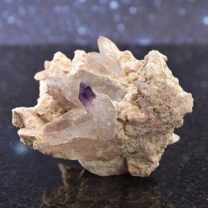 Shop Raw & Rough Amethyst Stones! Brandberg Phantom Quartz Cluster With Feldspar Matrix From Namibia | Reverse Amethyst Scepter | 2.3"