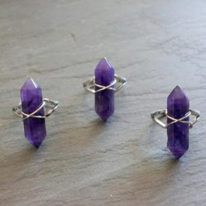 Amethyst Ring / Silver Ring / Gemstone Ring / Raw Amethyst / February Birthstone / Crystal Ring | Natural genuine Array jewelry. Buy crystal jewelry, handmade handcrafted artisan jewelry for women.  Unique handmade gift ideas. #jewelry #beadedjewelry #beadedjewelry #gift #shopping #handmadejewelry #fashion #style #product #jewelry #affiliate #ad