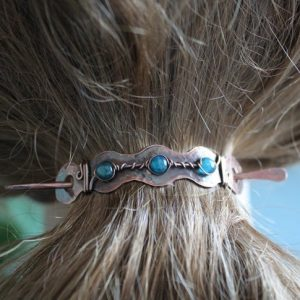 Copper Bun Holder With Rich Blue Apatite Stones, Hair Cuff, Hair Slide, Hair Accessory, Hair Pin, Pony Tail Clip, Hair Barrette – Hp051 | Natural genuine Apatite bracelets. Buy crystal jewelry, handmade handcrafted artisan jewelry for women.  Unique handmade gift ideas. #jewelry #beadedbracelets #beadedjewelry #gift #shopping #handmadejewelry #fashion #style #product #bracelets #affiliate #ad