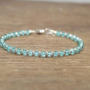 Shop Apatite Bracelets! Apatite Bracelet, Sterling Silver or Gold Filled Beads, Apatite Jewelry, Beaded Gemstone | Natural genuine Apatite bracelets. Buy crystal jewelry, handmade handcrafted artisan jewelry for women.  Unique handmade gift ideas. #jewelry #beadedbracelets #beadedjewelry #gift #shopping #handmadejewelry #fashion #style #product #bracelets #affiliate #ad