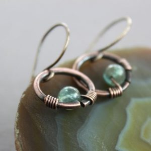 Shop Apatite Jewelry! Short Cute Hoop Copper Earrings With Apatite Stone – Dangle Earrings – Short Earrings – Small Earrings – Minimalist Earrings – Er051 | Natural genuine Apatite jewelry. Buy crystal jewelry, handmade handcrafted artisan jewelry for women.  Unique handmade gift ideas. #jewelry #beadedjewelry #beadedjewelry #gift #shopping #handmadejewelry #fashion #style #product #jewelry #affiliate #ad