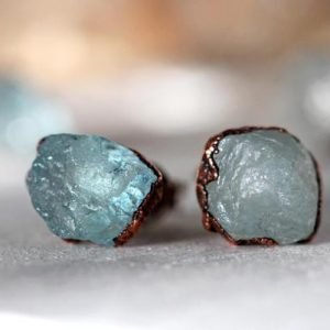 Aquamarine Post Earrings – Raw Crystal Earrings – Crystal Stud Earrings – March Birthstone Jewelry | Natural genuine Gemstone earrings. Buy crystal jewelry, handmade handcrafted artisan jewelry for women.  Unique handmade gift ideas. #jewelry #beadedearrings #beadedjewelry #gift #shopping #handmadejewelry #fashion #style #product #earrings #affiliate #ad