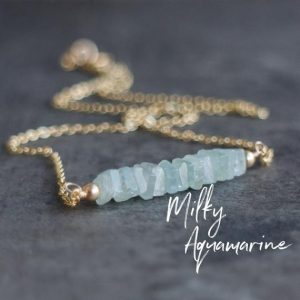 Shop Aquamarine Jewelry! Aquamarine Necklace, Gemstone Necklace, Birthday Gifts for Mom, March Birthstone Necklace, Bar Necklace, Aquamarine Jewelry | Natural genuine Aquamarine jewelry. Buy crystal jewelry, handmade handcrafted artisan jewelry for women.  Unique handmade gift ideas. #jewelry #beadedjewelry #beadedjewelry #gift #shopping #handmadejewelry #fashion #style #product #jewelry #affiliate #ad