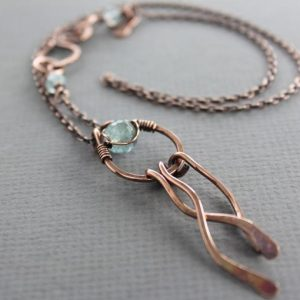 Wavy Copper Pendant Necklace In Hoop Design With Wavy Dangles And Aquamarine Stone With Decorative Hook Clasp – Aquamarine Necklace – Nk005 | Natural genuine Aquamarine pendants. Buy crystal jewelry, handmade handcrafted artisan jewelry for women.  Unique handmade gift ideas. #jewelry #beadedpendants #beadedjewelry #gift #shopping #handmadejewelry #fashion #style #product #pendants #affiliate #ad