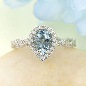 Aquamarine Engagement Ring.Diamond Bridal Set.8x6mm Aquamarine Wedding Ring.Diamond Engagement Ring.Diamond Wedding Band.Twist Wedding Ring | Natural genuine Array rings, simple unique alternative gemstone engagement rings. #rings #jewelry #bridal #wedding #jewelryaccessories #engagementrings #weddingideas #affiliate #ad