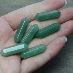 Aventurine Double Terminated Carved Point J82 | Natural genuine stones & crystals in various shapes & sizes. Buy raw cut, tumbled, or polished gemstones for making jewelry or crystal healing energy vibration raising reiki stones. #crystals #gemstones #crystalhealing #crystalsandgemstones #energyhealing #affiliate #ad