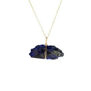 Shop Azurite Necklaces! Azurite necklace – druzy necklace – bar necklace – crystal necklace – mineral – cobalt blue – a raw azurite bar on a 14k gold vermeil chain | Natural genuine Azurite necklaces. Buy crystal jewelry, handmade handcrafted artisan jewelry for women.  Unique handmade gift ideas. #jewelry #beadednecklaces #beadedjewelry #gift #shopping #handmadejewelry #fashion #style #product #necklaces #affiliate #ad