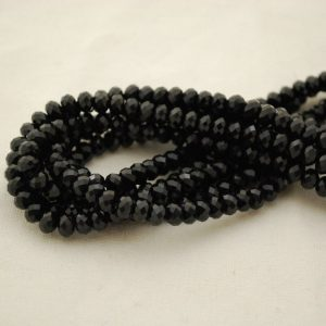 "Shop Black Tourmaline Beads! High Quality Grade A Natural Black Tourmaline Semi-precious Gemstone FACETED Rondelle / Spacer Beads – 6mm x 4mm – 15.5"" strand 