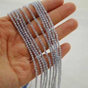 "Shop Blue Lace Agate Beads! High Quality Grade A Natural Blue Lace Agate Semi-precious Gemstone Faceted Round Beads – Approx 2mm – 15.5"" Long 