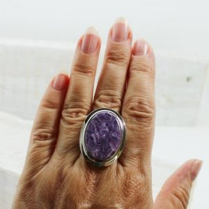 Shop Charoite Rings! Gorgeous Purple Charoite Ring, Oval Charoite Silver Ring Sterling Silver Charoite Jewelry Russian Charoite All Natural Charoite Purple | Natural genuine Charoite rings, simple unique handcrafted gemstone rings. #rings #jewelry #shopping #gift #handmade #fashion #style #affiliate #ad