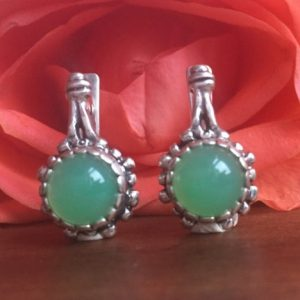 Shop Chrysoprase Earrings! Green Vintage Earrings, Chrysoprase Earrings, Flower Earrings, Solid Silver Earrings, Green Stone Earrings, Green Earrings, May Earrings | Natural genuine Chrysoprase earrings. Buy crystal jewelry, handmade handcrafted artisan jewelry for women.  Unique handmade gift ideas. #jewelry #beadedearrings #beadedjewelry #gift #shopping #handmadejewelry #fashion #style #product #earrings #affiliate #ad