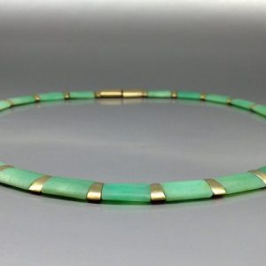 Shop Chrysoprase Necklaces! Necklace / Collier – Bright Spring Green Chrysoprase With 14k Gold Plated Parts – Gift Idea – Statement Jewelry – Natural Gemstone – Artisan | Natural genuine Chrysoprase necklaces. Buy crystal jewelry, handmade handcrafted artisan jewelry for women.  Unique handmade gift ideas. #jewelry #beadednecklaces #beadedjewelry #gift #shopping #handmadejewelry #fashion #style #product #necklaces #affiliate #ad