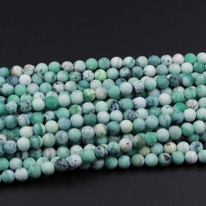 "Natural African Green Chrysoprase 6mm Matte Round 8mm Matte Round 10mm Matte Round Beads 15.5"" Strand 