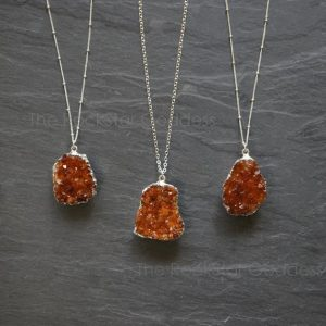 SALE / Silver Citrine Necklace / Citrine Druzy Necklace / Citrine Crystal Necklace / Raw Citrine Necklace | Natural genuine Gemstone jewelry. Buy crystal jewelry, handmade handcrafted artisan jewelry for women.  Unique handmade gift ideas. #jewelry #beadedjewelry #beadedjewelry #gift #shopping #handmadejewelry #fashion #style #product #jewelry #affiliate #ad
