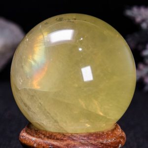 "Shop Citrine Stones & Crystals! 1.57""Natural Rainbow Citrine Quartz Crystal Sphere/Chakra/Reiki/Zen/Feng Shui/Meditation/Special Gift/Gift for Her-40mm 88g#4449 