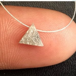 Shop Diamond Bead Shapes! 65% Sale Grey White Raw Diamond Triangle Pendant, 4.5mm Laser Cut Natural Rough Diamond, Triangle Diamond Drilled Necklace, Loose Diamond – | Natural genuine other-shape Diamond beads for beading and jewelry making.  #jewelry #beads #beadedjewelry #diyjewelry #jewelrymaking #beadstore #beading #affiliate #ad