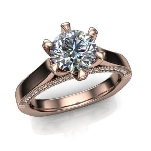 1 Carat Diamond Engagement Ring, Cathedral Set With Claw Prongs | Natural genuine Gemstone rings, simple unique alternative gemstone engagement rings. #rings #jewelry #bridal #wedding #jewelryaccessories #engagementrings #weddingideas #affiliate #ad