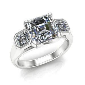 Diamond Engagement Ring, 3-stone With Asscher Cut Diamonds- Bold Unisex Design | Natural genuine Gemstone rings, simple unique alternative gemstone engagement rings. #rings #jewelry #bridal #wedding #jewelryaccessories #engagementrings #weddingideas #affiliate #ad