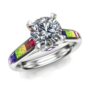 Gay Engagement Ring, 1 Carat Diamond, Round with Pride Rainbow Gemstones | Natural genuine Gemstone rings, simple unique alternative gemstone engagement rings. #rings #jewelry #bridal #wedding #jewelryaccessories #engagementrings #weddingideas #affiliate #ad