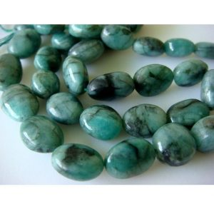 10-12mm Emerald Plain Oval Nuggets, Emerald Tumbles, Emerald Nuggets For Jewelry, Green Oval Beads, Emerald Plain Oval (4IN To 16IN Options) | Natural genuine chip Emerald beads for beading and jewelry making.  #jewelry #beads #beadedjewelry #diyjewelry #jewelrymaking #beadstore #beading #affiliate #ad