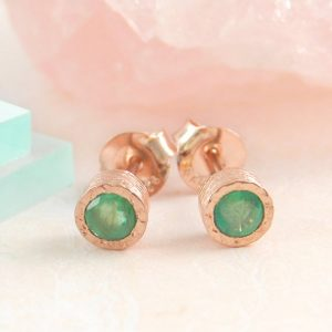 Emerald Studs, Rose Gold Studs, Gemstone Earrings, Emerald Earrings, Real Gemstone, Green Earrings, Round Earrings, Boho Earrings, Gold Stud | Natural genuine Emerald earrings. Buy crystal jewelry, handmade handcrafted artisan jewelry for women.  Unique handmade gift ideas. #jewelry #beadedearrings #beadedjewelry #gift #shopping #handmadejewelry #fashion #style #product #earrings #affiliate #ad