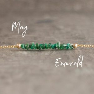 Emerald Raw Crystal Necklace, May Birthday Gift Necklace For Her, Bridesmaid Necklaces, Crystal Choker | Natural genuine Emerald necklaces. Buy crystal jewelry, handmade handcrafted artisan jewelry for women.  Unique handmade gift ideas. #jewelry #beadednecklaces #beadedjewelry #gift #shopping #handmadejewelry #fashion #style #product #necklaces #affiliate #ad