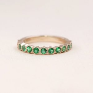 Emerald Wedding Band.0.60Ct Natural Emerald Women's Band. 13 Bezel Emerald Wedding Band.Unique Wedding Ring.Milligrain Bezel Wedding Band. | Natural genuine Gemstone rings, simple unique alternative gemstone engagement rings. #rings #jewelry #bridal #wedding #jewelryaccessories #engagementrings #weddingideas #affiliate #ad