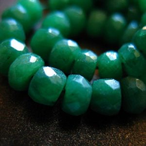EMERALD RONDELLES Beads, Luxe AAA, 3-4 mm, Dyed Emerald Kelly Green may birthstone brides bridal true der tr e | Natural genuine rondelle Emerald beads for beading and jewelry making.  #jewelry #beads #beadedjewelry #diyjewelry #jewelrymaking #beadstore #beading #affiliate #ad