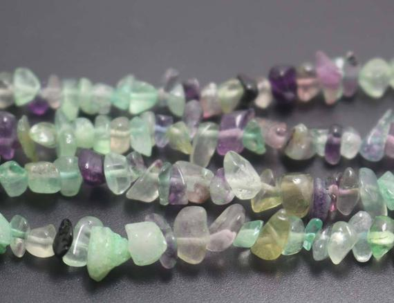 Natural Rainbow Fluorite Chip Beads, Green And Purple Fluorite Nugget Beads Supply,32 Inches One Starand