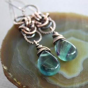 Shop Fluorite Earrings! Fluorite Chainmaille Copper Earrings With Briolette Stones – Gemstone Earrings – Dangle Earrings – Drop Earrings – Er039 | Natural genuine Fluorite earrings. Buy crystal jewelry, handmade handcrafted artisan jewelry for women.  Unique handmade gift ideas. #jewelry #beadedearrings #beadedjewelry #gift #shopping #handmadejewelry #fashion #style #product #earrings #affiliate #ad
