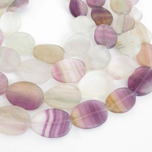Shop Fluorite Bead Shapes! 20mm Oval Fluorite Beads, 20mm Wavy Oval Rainbow Fluorite, Natural Gemstone Beads, Purple Beads, Fluo210 | Natural genuine other-shape Fluorite beads for beading and jewelry making.  #jewelry #beads #beadedjewelry #diyjewelry #jewelrymaking #beadstore #beading #affiliate #ad