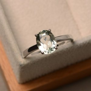 Green Amethyst Engagement Ring, Sterling Silver Ring, Oval Shape Solitaire Ring, Anniversary Ring | Natural genuine Gemstone rings, simple unique alternative gemstone engagement rings. #rings #jewelry #bridal #wedding #jewelryaccessories #engagementrings #weddingideas #affiliate #ad