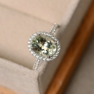 Green Amethyst Ring, Halo Engagement Ring, Oval Cut, Sterling Silver Green Amethsyt | Natural genuine Gemstone rings, simple unique alternative gemstone engagement rings. #rings #jewelry #bridal #wedding #jewelryaccessories #engagementrings #weddingideas #affiliate #ad