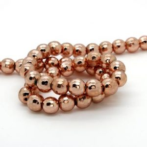 Hematite Faceted Round Ball Sphere Loose Heishi Gemstone Beads – Rose Gold (4mm, 6mm, 8mm, 10mm, 12mm) | Natural genuine faceted Hematite beads for beading and jewelry making.  #jewelry #beads #beadedjewelry #diyjewelry #jewelrymaking #beadstore #beading #affiliate #ad