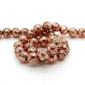Shop Hematite Round Beads! Cutout Dimpled Rose Gold Hematite Round Ball Sphere Loose Gemstone Beads – 6mm, 8mm, 10mm | Natural genuine round Hematite beads for beading and jewelry making.  #jewelry #beads #beadedjewelry #diyjewelry #jewelrymaking #beadstore #beading #affiliate #ad