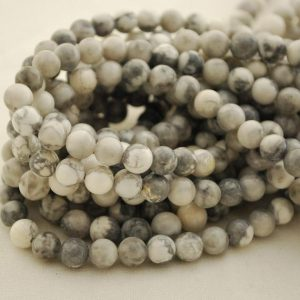 "Shop Howlite Round Beads! High Quality Grade A Natural Grey White Howlite Semi-precious Gemstone Round Beads – 4mm, 6mm, 8mm Sizes – Approx 16"" Strand 