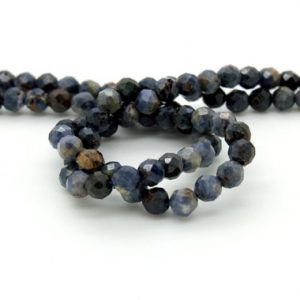 Shop Iolite Beads! Natural Iolite, Iolite Faceted Sphere Ball Round Natural Gemstone Beads Stones – 4mm 5mm – Grade AB | Natural genuine beads Iolite beads for beading and jewelry making.  #jewelry #beads #beadedjewelry #diyjewelry #jewelrymaking #beadstore #beading #affiliate #ad