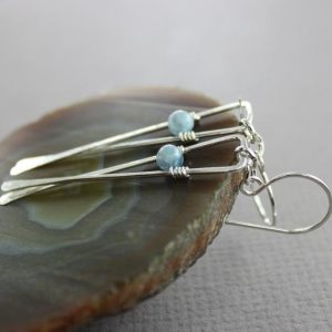 Shop Kyanite Earrings! Geometrical sterling silver dangle earrings, Kyanite earrings, Long earrings, Gemstone earrings, Triangle earrings, Dainty earrings, ER151 | Natural genuine Kyanite earrings. Buy crystal jewelry, handmade handcrafted artisan jewelry for women.  Unique handmade gift ideas. #jewelry #beadedearrings #beadedjewelry #gift #shopping #handmadejewelry #fashion #style #product #earrings #affiliate #ad