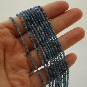 "Shop Kyanite Faceted Beads! High Quality Grade A Natural Kyanite Semi-Precious Gemstone FACETED Round Beads – approx 2mm – 15.5"" long 