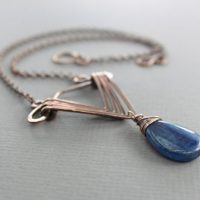 Copper Necklace In Geometrical Art Deco Design With Blue Kyanite Stone – Art Deco Necklace – Statement Boho Necklace – Nk042 | Natural genuine Gemstone jewelry. Buy crystal jewelry, handmade handcrafted artisan jewelry for women.  Unique handmade gift ideas. #jewelry #beadedjewelry #beadedjewelry #gift #shopping #handmadejewelry #fashion #style #product #jewelry #affiliate #ad