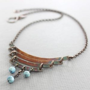 Shop Kyanite Necklaces! Tribal copper necklace with kyanite fringe, Cascade necklace, Ladder necklace, Tribal necklace, Everyday necklace, Curve necklace, NK072 | Natural genuine Kyanite necklaces. Buy crystal jewelry, handmade handcrafted artisan jewelry for women.  Unique handmade gift ideas. #jewelry #beadednecklaces #beadedjewelry #gift #shopping #handmadejewelry #fashion #style #product #necklaces #affiliate #ad