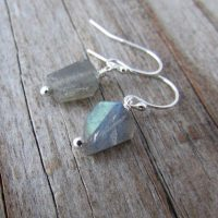 Labradorite Earrings, Dangle Earrings, Silver And Labradorite, Rough Cut Nuggets | Natural genuine Gemstone jewelry. Buy crystal jewelry, handmade handcrafted artisan jewelry for women.  Unique handmade gift ideas. #jewelry #beadedjewelry #beadedjewelry #gift #shopping #handmadejewelry #fashion #style #product #jewelry #affiliate #ad