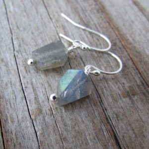 Shop Labradorite Earrings! Labradorite Earrings, dangle earrings, silver and labradorite, rough cut nuggets | Natural genuine Labradorite earrings. Buy crystal jewelry, handmade handcrafted artisan jewelry for women.  Unique handmade gift ideas. #jewelry #beadedearrings #beadedjewelry #gift #shopping #handmadejewelry #fashion #style #product #earrings #affiliate #ad