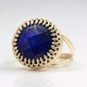 Lapis lazuli ring, gold ring,blue ring,gemstone ring,semiprecious ring,vintage ring,september birthstone ring | Natural genuine Lapis Lazuli rings, simple unique handcrafted gemstone rings. #rings #jewelry #shopping #gift #handmade #fashion #style #affiliate #ad
