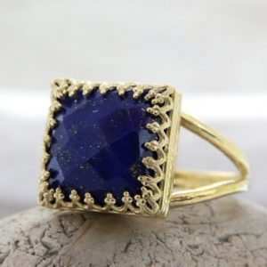 gold Lapis ring,September birthstone ring,Lapis Lazuli ring,square ring,gemstone ring,navy blue ring,cocktail ring for women,sisters ring | Natural genuine Lapis Lazuli rings, simple unique handcrafted gemstone rings. #rings #jewelry #shopping #gift #handmade #fashion #style #affiliate #ad